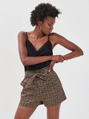 Short paperbag taille haute noir femme