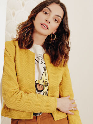 Veste droite avec epaulettes jaune moutarde femme