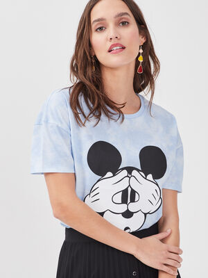 T shirt manches courtes Mickey bleu pastel femme