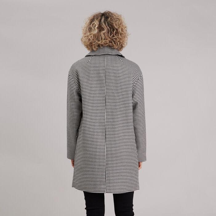 Manteau droit boutonné blanc femme