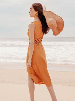 Robe longue droite terracotta femme