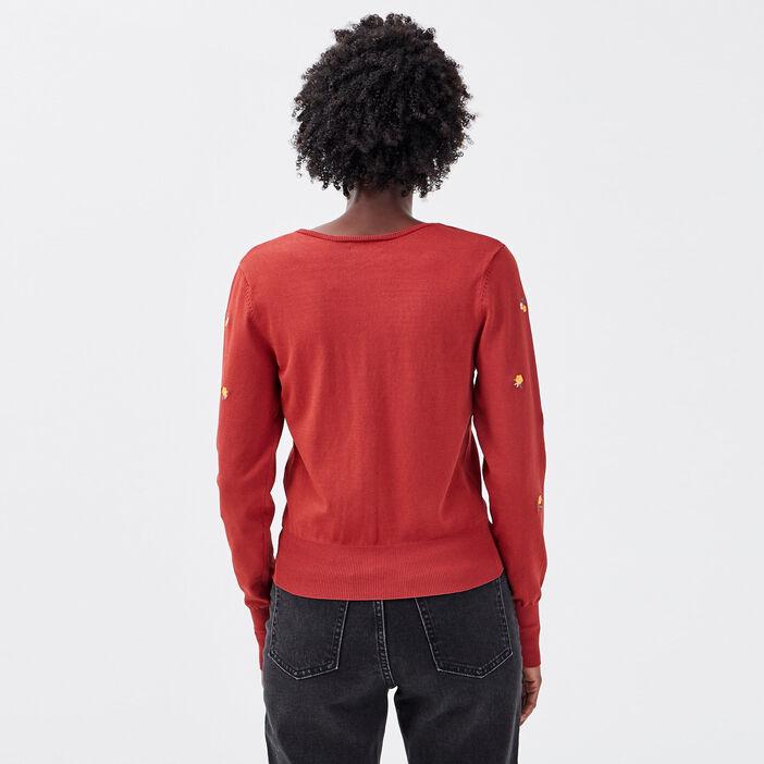 Gilet manches longues orange foncé femme