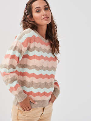 Pull col rond orange corail femme