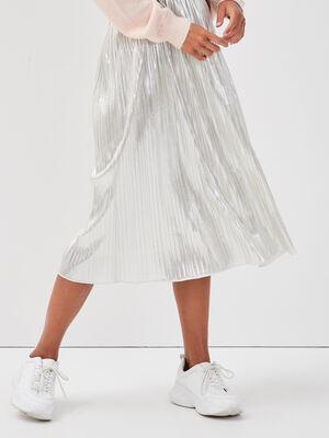 Jupe evasee plissee couleur or femme