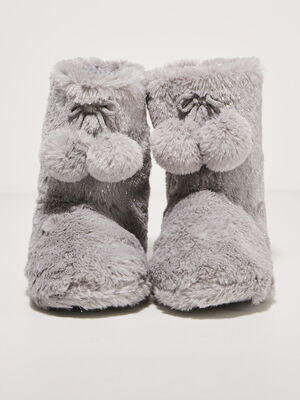 Chaussons bottines a pompons gris clair femme