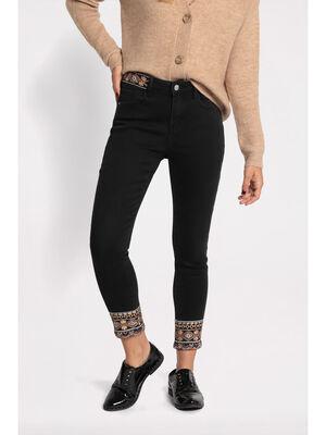 Jeans slim 78 brode denim noir femme