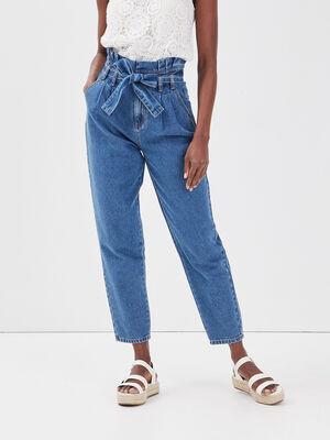 Jeans paperbag ceinture denim double stone femme