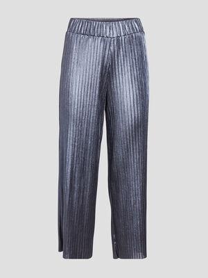Pantalon ample plisse gris clair femme