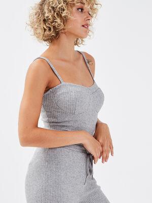 Body bretelles fines gris clair femme