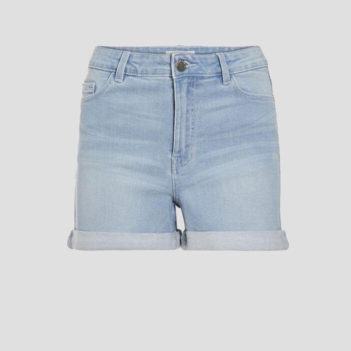 Short slim en jean denim bleach femme