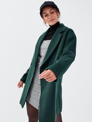 Manteau droit boutonne vert fonce femme