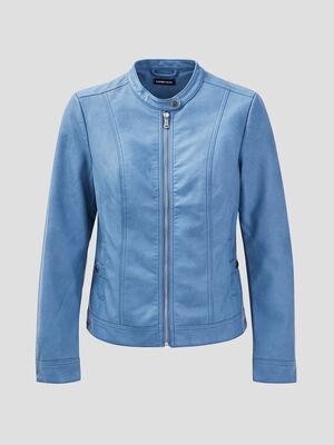 Veste droite zippee bleu femme