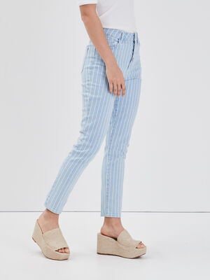 Jeans slim boutonne denim bleach femme