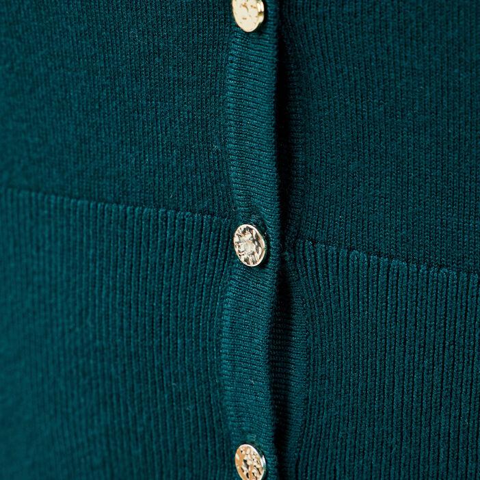 Gilet boutonné vert foncé femme