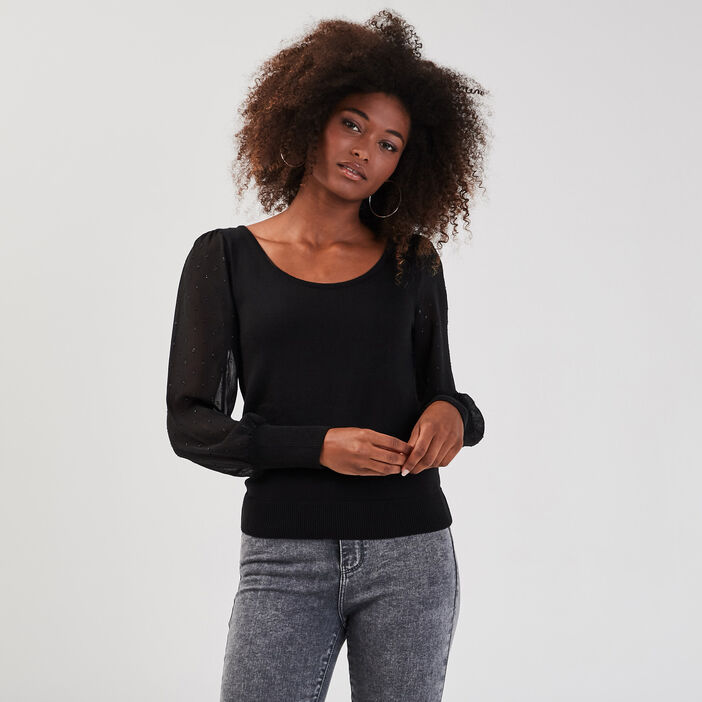 Pull manches bouffantes noir femme