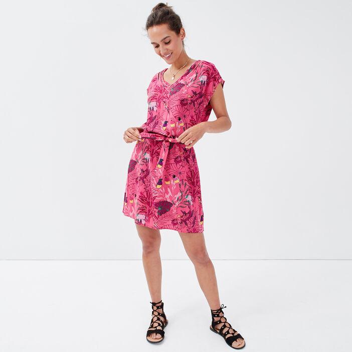 Robe droite ceinturée rose framboise femme