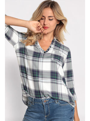Chemise manches 34 a poche vert femme