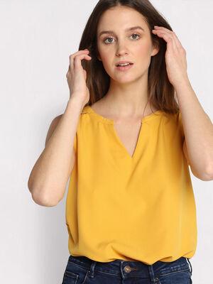 Debardeur bretelles larges jaune femme