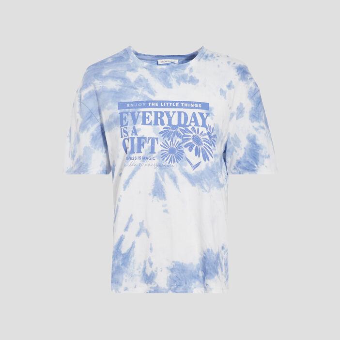 T-shirt manches courtes bleu femme