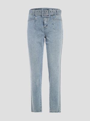 Jeans regular ceinture denim bleach femme