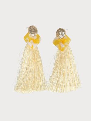 Boucles doreilles pompons jaune pastel femme