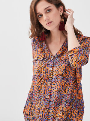 Chemise manches 34 orange femme