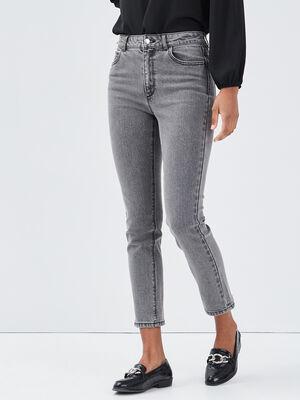 Jeans slim taille haute denim gris femme