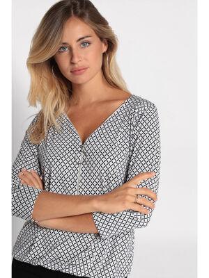 T shirt imprime manches 34 bleu marine femme