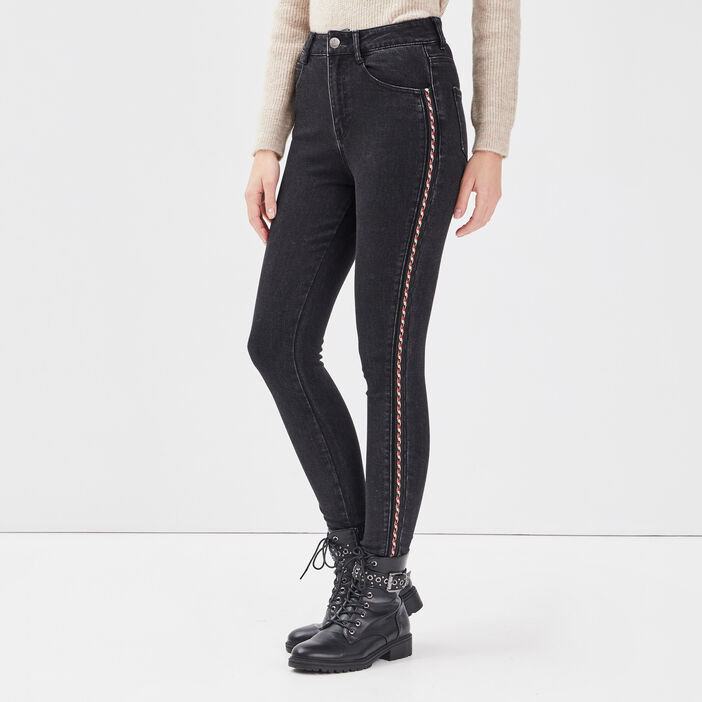 Jeans skinny avec bandes denim noir femme