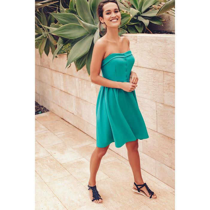 design de qualité 81f8f 7c567 Robe courte évasée boutons bleu turquoise femme | Vib's