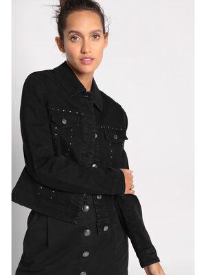 Veste cintree en jean a studs noir femme