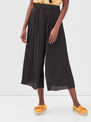 Pantalon ample fluide plisse noir femme