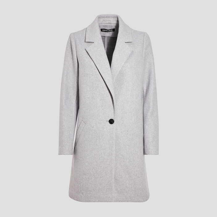 Manteau droit boutonné gris clair femme