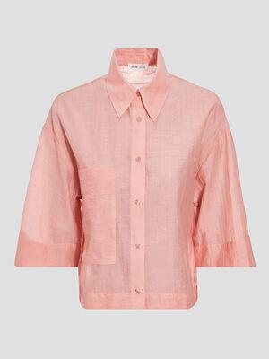 Chemise manches 34 rose saumon femme