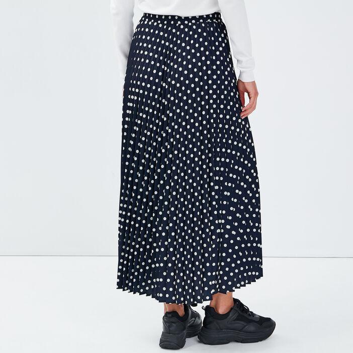 Jupe longue évasée plissée noir femme