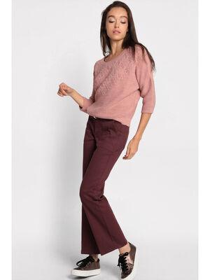 Pantalon droit a ceinture violet fonce femme