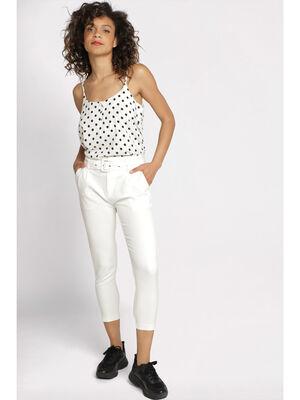 Pantalon skinny taille haute blanc femme
