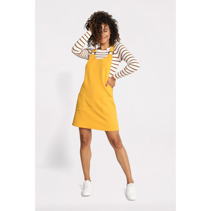 2fc1a46974 Robe salopette à anneaux jaune moutarde femme | Vib's