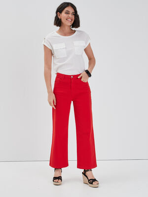 Jeans droit rouge femme