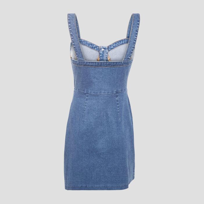 Robe trapèze en jean denim stone femme