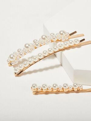 Lot 3 barrettes avec perles couleur or femme