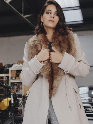 Manteau droit col amovible beige femme