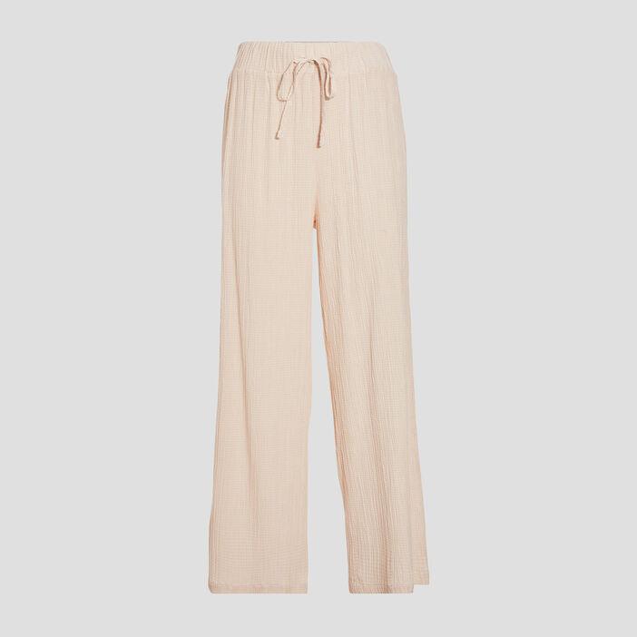 Pantalon ample fluide ecru femme