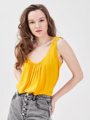 Blouse bretelles larges jaune femme