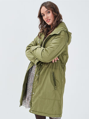Parka evasee avec capuche vert olive femme