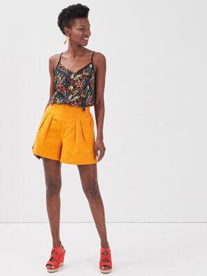 Short ample avec pinces jaune fonce femme