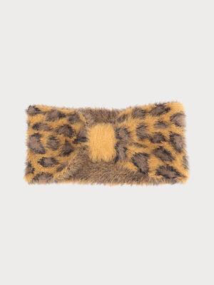 Bandeau tricote duveteux jaune moutarde femme
