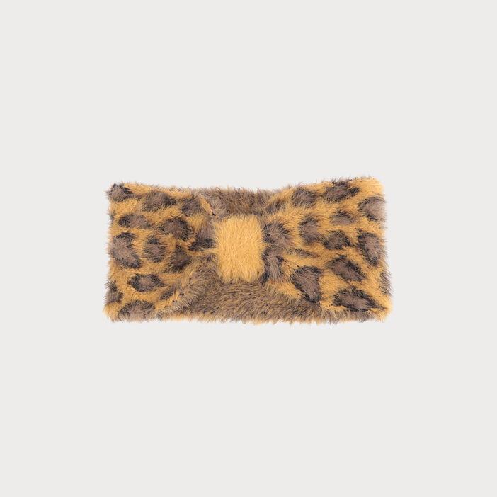 Bandeau tricoté duveteux jaune moutarde femme