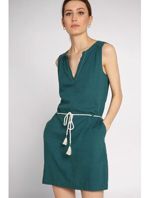 Robe courte droite ceinture bleu femme