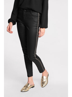 Pantalon slim enduit denim noir enduit femme